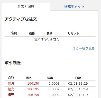 売りが成立すると取引履歴に表示されます。